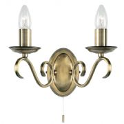 Bernice Double Wall Light in Antique Brass, Switched - ENDON 2030-2AN